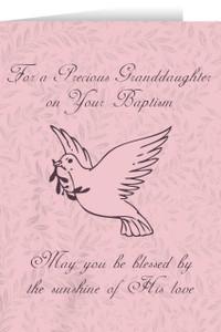 Granddaughter's Baptism Dove Greeting Card