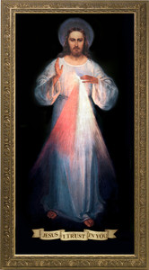 Vilnius Divine Mercy Canvas with Gold Frame