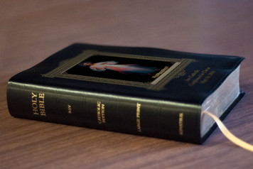 Personalized Catholic Bible with Vilnius Divine Mercy Cover - Black Bonded Leather RSVCE
