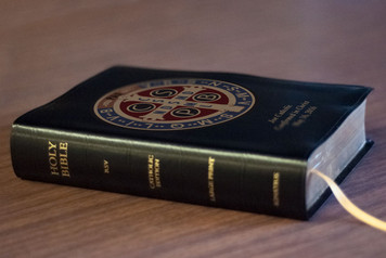 Personalized Catholic Bible with Benedictine Medal Cover - Black Bonded Leather RSVCE