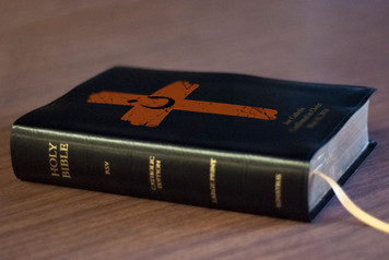 Personalized Catholic Bible with Orange Cross Project Cover - Black Bonded Leather RSVCE