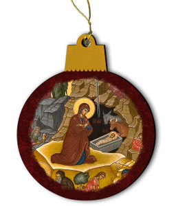 Nativity of Jesus Christ Icon Wood Ornament