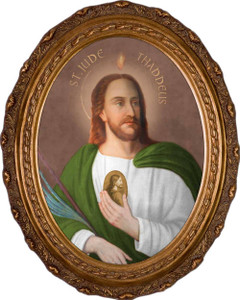 Saint Jude Thaddeus Canvas - Oval Framed Art