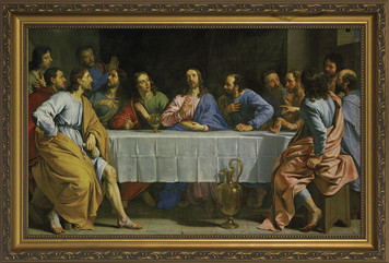 Last Supper by Champaigne Church-Sized Framed Canvas Art