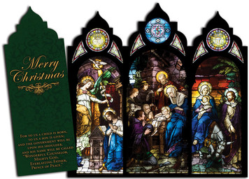 Nativity Stained Glass Tri-fold Triptych Christmas Cards