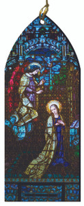 The Annunciation Stained Glass Wood Ornament
