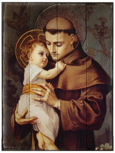 St. Anthony of Padua Rustic Wood Plaque