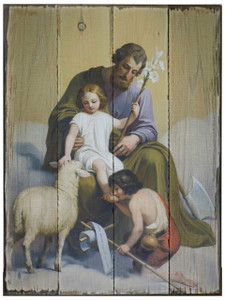 St. Joseph Guardian of Sons Rustic Wood Plaque
