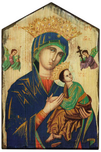 Our Lady of Perpetual Help Rustic Wood Icon Plaque