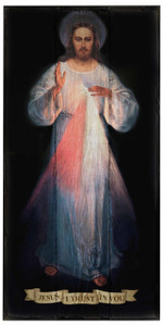 Divine Mercy (Vilnius) Rustic Wood Plaque