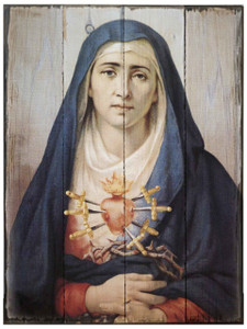Our Lady of Sorrows Rustic Wood Plaque