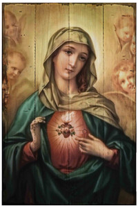 Immaculate Heart of Mary Rustic Wood Plaque