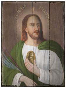 St. Jude Thaddeus Rustic Wood Plaque
