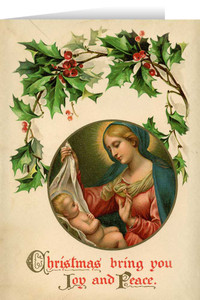Vintage Madonna with Holly Christmas Cards