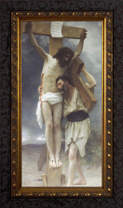 Compassion by William Adolphe Bouguereau - Ornate Dark Framed Art