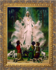Our Lady of Fatima in Cloud Canvas - Gold Frame