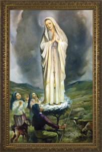 Our Lady of Fatima with Children Canvas - Framed Art