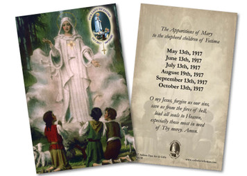 "Our Lady of Fatima in Cloud ""The Apparitions of Mary"" Holy Card"