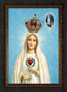 Fatima 100 Year Anniversary - Ornate Dark Framed Canvas