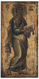 The Apostle Matthew Rustic Wood Russian Icon Plaque
