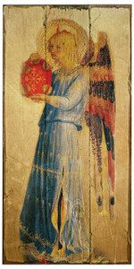 Fra Angelico Angel with Tambourine I Rustic Wood Plaque