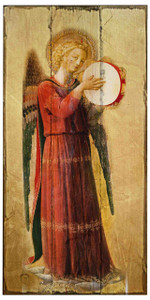 Fra Angelico Angel with Tambourine II Rustic Wood Plaque