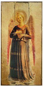 Fra Angelico Angel with Harp Rustic Wood Plaque