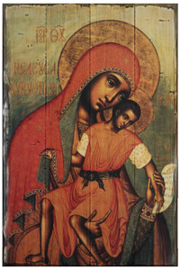 Virgin Eleousa of Kykkos Rustic Wood Russian Icon Plaque