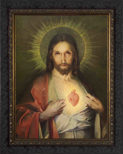 Polish Sacred Heart - Ornate Dark Framed Art