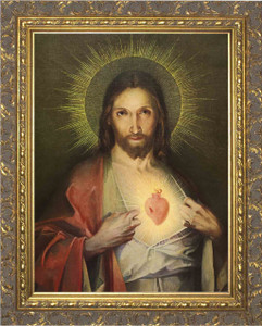 Polish Sacred Heart - Gold Ornate Framed Canvas
