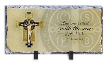 Benedictine Cross with Quote Horizontal Slate Tile