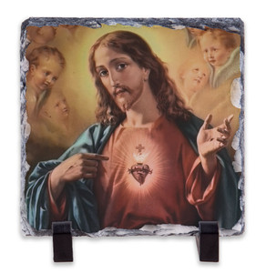 Sacred Heart Surrounded by Angels Square Slate Tile