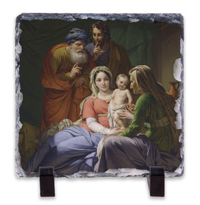 Holy Family with Grandparents Joachim and Anne Square Slate Tile