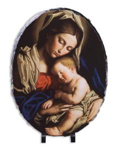 Madonna and Her Child Oval Slate Tile