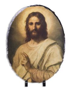 Figure of Christ Oval Slate Tile
