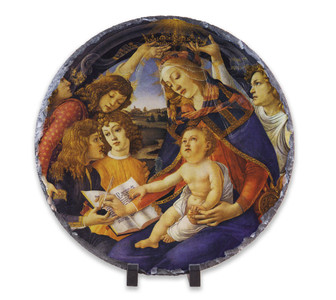 Madonna of the Magnificat Round Slate Tile