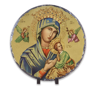 Our Lady of Perpetual Help Round Slate Tile