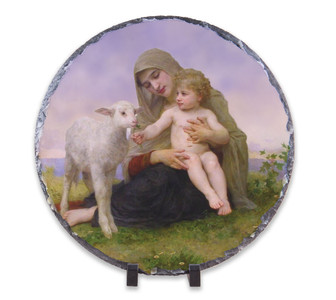 Virgin and the Lamb Round Slate Tile