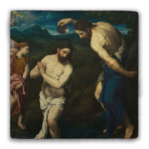 Baptism of Christ by Bordone Square Tumbled Stone Tile