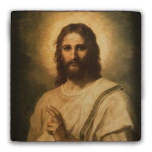 Figure of Christ Square Tumbled Stone Tile