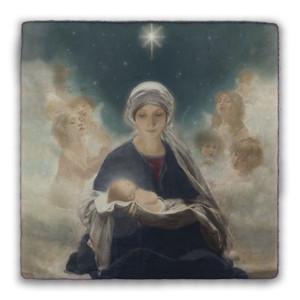 Star of Bethlehem by Bruno Piglhein Square Tumbled Stone Tile