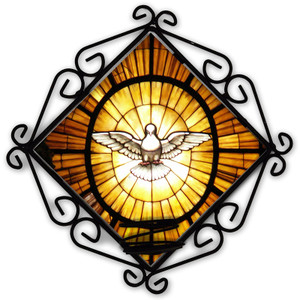 Holy Spirit Stained Glass Votive Candle Holder