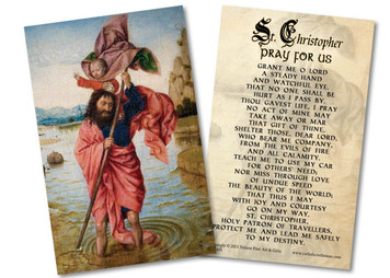 St. Christopher with Jesus Holy Card
