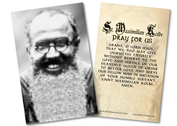 St. Maximilian Kolbe with Prayer Holy Card
