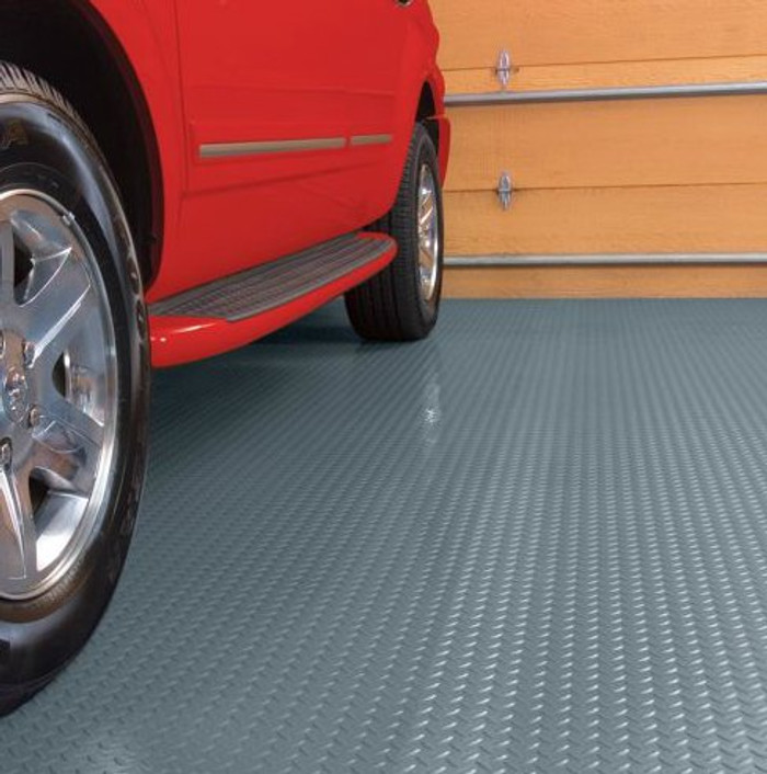 G Floor Diamond Tread Pattern, Roll Out Garage Flooring Slate Grey