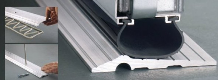 Solid Aluminum Threshold for industrial and commercial overhead doors. Can also be used in residential applications.
