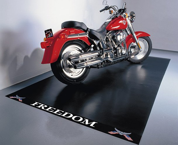 G-Floor Motorcycle Parking Mat with Freedom Label Heavy Duty