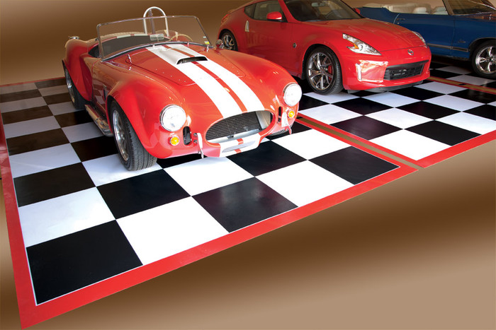 Checkered Black & White Tile Parking Pad with Red Border