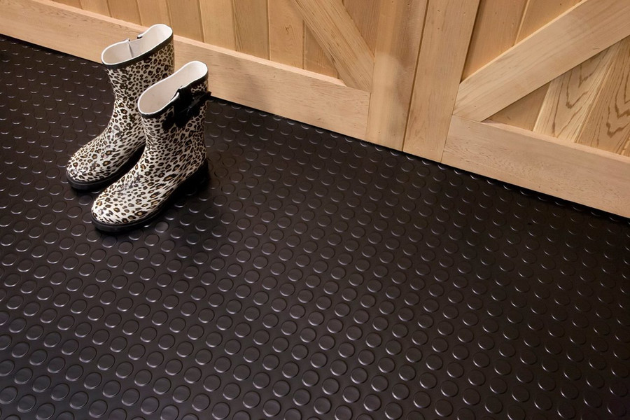G Floor Coin Pattern Rollout Flooring Midnight Black used in a barn