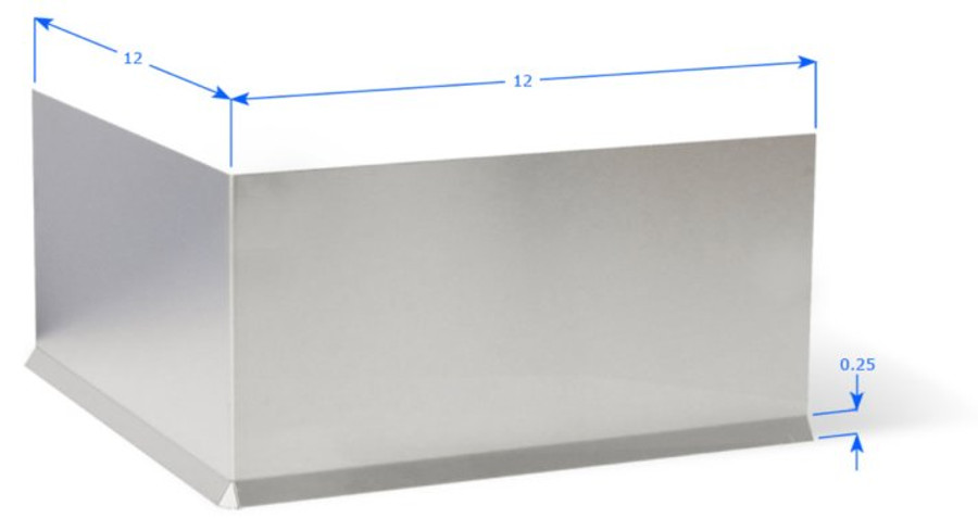 "Premolded Outside Corner with 12"" Wings, and 1/4"" Cove Bend, Brushed Aluminum 18 GA"